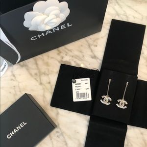 Chanel Crystal Dangle CC Earrings Silver Palladium